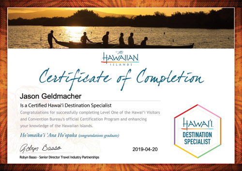 Jason-Geldmacher-Certification Two_ Selling the Hawaiian Islands-Certificate