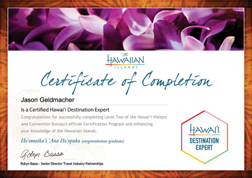 Jason-Geldmacher-Hawaii Destination Expert Training-Certificate