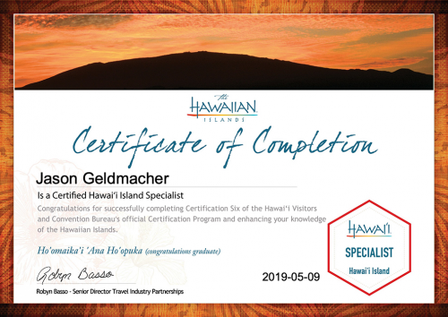 Jason-Geldmacher-Island of Hawai'i Specialist Certification-Certificate