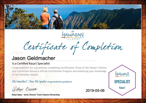 Jason-Geldmacher-Kaua'i Specialist Certification-Certificate
