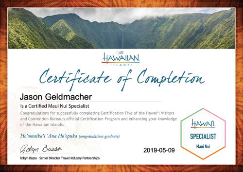 Jason-Geldmacher-Maui Nui Specialist Certification-Certificate