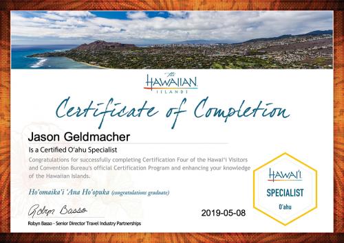 Jason-Geldmacher-O'ahu Specialist Certification-Certificate