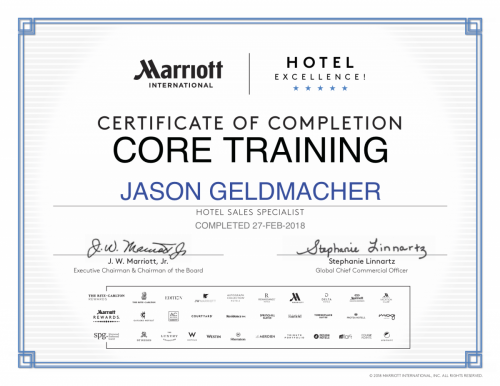 Marriott certificate